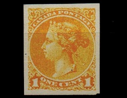 CANADA - 1891 1c bright yellow IMPERFORATE PLATE PROOF.
