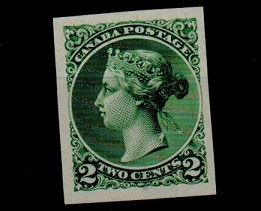 CANADA - 1891 2c bright green IMPERFORATE PLATE PROOF.