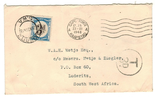 SOUTH WEST AFRICA - 1948 unstamped tax local cover from Capetown with 3d