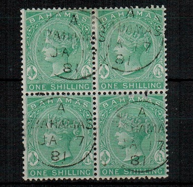 BAHAMAS - 1863 1/- green fine used block of four.  SG 39b.