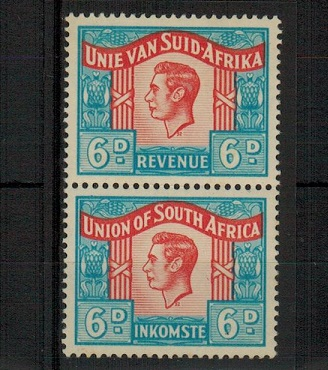 SOUTH AFRICA - 1946 6d REVENUE pair U/M with language error.