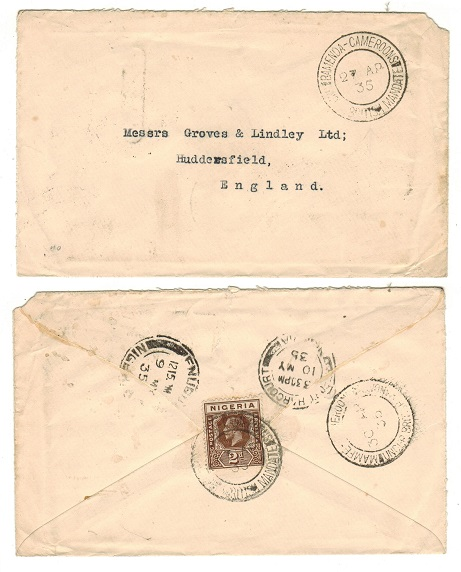 CAMEROONS - 1935 2d rate cover to UK used at BAMENDA.