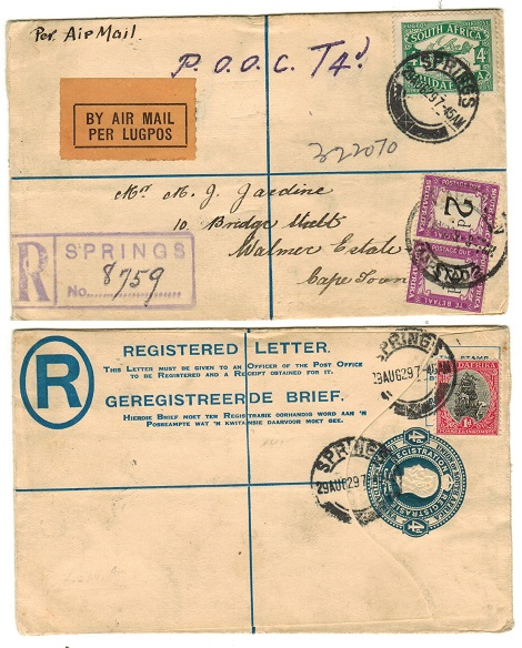 SOUTH AFRICA - 1918 4d RPSE used at SPRINGS underpaid with 2d