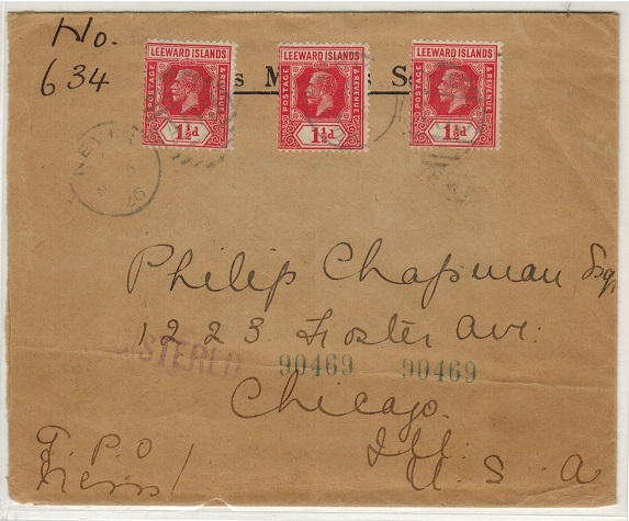 ST.KITTS - 1936 4 1/2d registered cover to USA used at NEVIS.