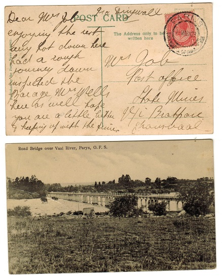 SOUTH AFRICA - 1923 1d rate postcard use to Transvaal used at PARIJS.