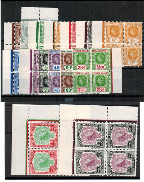 LEEWARD ISLANDS - 1954 series in U/M blocks of four.  SG 126-40.