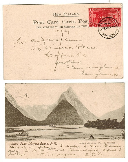 NEW ZEALAND - 1906 1d rate postcard use at EXHIBITION/CHRIST CHURCH.