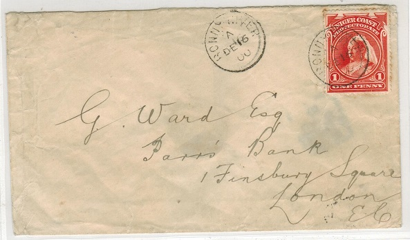 NIGER COAST - 1900 1d rate cover to UK used at BONNY RIVER.