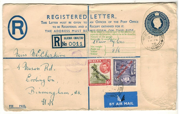 MALTA - 1938 4d blue RPSE to UK uprated at SLIEMA.  H&G 8a.