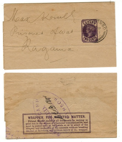 CEYLON - 1894 2c dark violet stationery wrapper used at COLOMBO with RAGAMA CAMP censor h/s.  H&G 2.