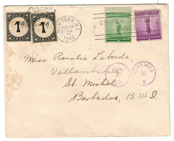 BARBADOS - 1942 inward underpaid cover from USA with 1d (x2)