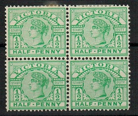 AUSTRALIA (Victoria) - 1899 1/2d emerald mint block of four.  SG 356.