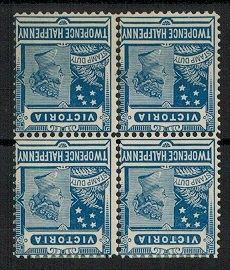 AUSTRALIA (Victoria) 1900 2 1/2d blue mint block of 4 with INVERTED WATERMARK.  SG 360.
