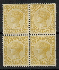 AUSTRALIA (Victoria) - 1899 3d bistre-yellow mint block of four.  SG 361.