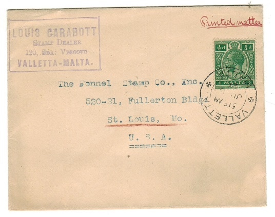 MALTA - 1921 1/2d rate cover to USA used at VALLETTA.