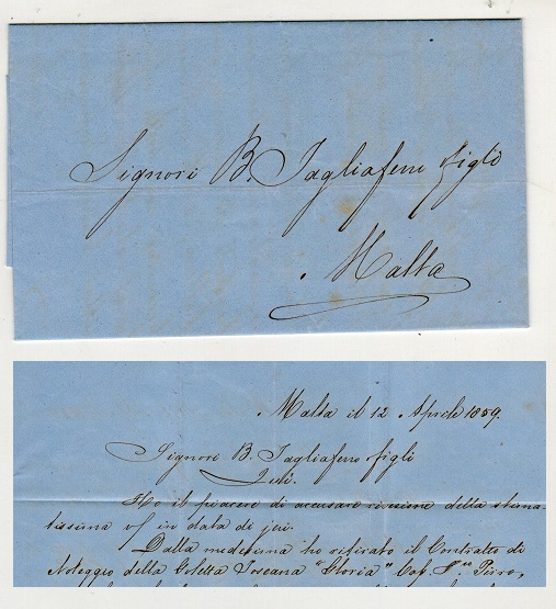 MALTA - 1859 entire addressed locally and hand delivered.