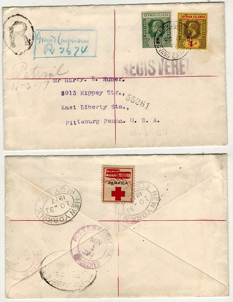 CAYMAN ISLANDS - 1917 mixed franking registered cover to USA with JAMAICA/RED CROSS label.