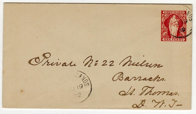 BRITISH VIRGIN ISLANDS - 1901 1d red brown PSE to St.Thomas .  H&G 1a.