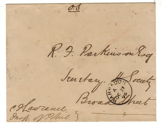 BARBADOS - 1896 local stampless
