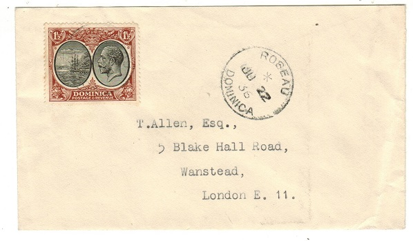 DOMINICA - 1936 1 1/2d rate cover to UK used at ROSEAU.
