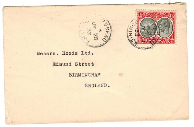 DOMINICA - 1933 1 1/2d rate cover to UK used at ROSEAU.