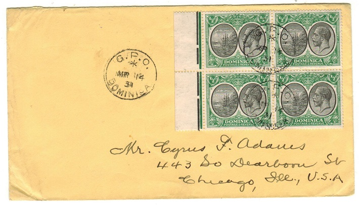 DOMINICA - 1931 2d rate cover to USA used at GPO/DOMINICA.