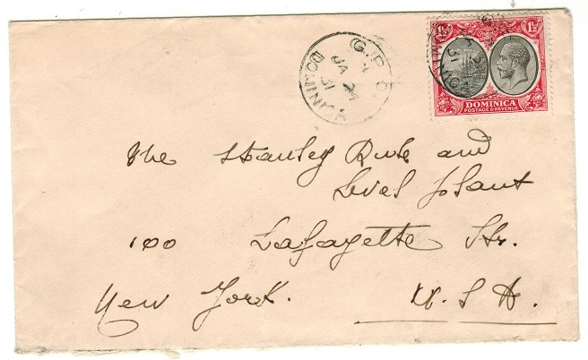 DOMINICA - 1931 1 1/2d rate cover to USA used at GPO/DOMINICA.