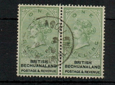 BECHUANALAND - 1888 1/- green pair cancelled SETLAGOLI.  SG 46.