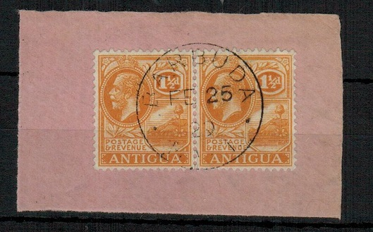BARBUDA - 1929 1 1/2d dull orange adhesive pair of Antigua cancelled BARBUDA.