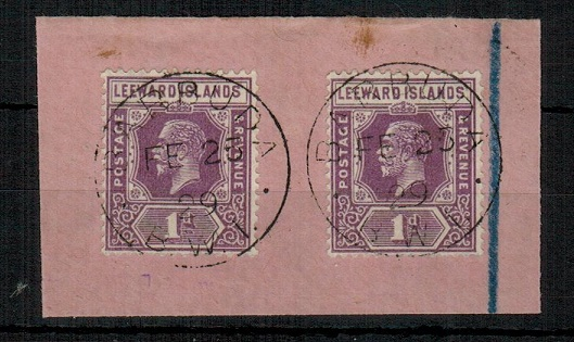 BARBUDA - 1929 1d violet (x2) adhesive of Leeward Islands used at BARBUDA.