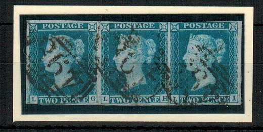 GREAT BRITAIN - 1841 2d steel blue Plate 3 strip of three cancelled by