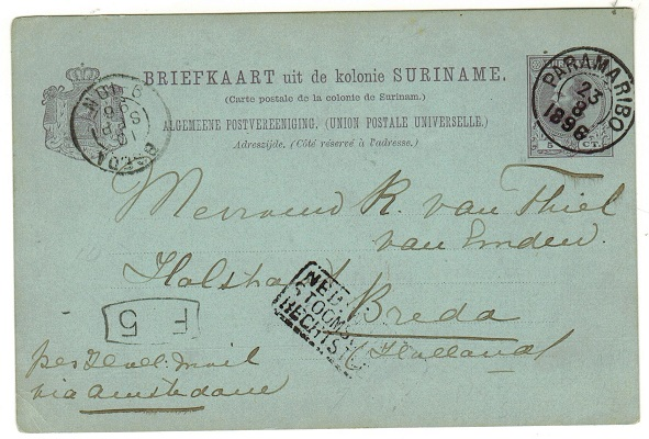 SURINAM - 1896 5c violet on blue PSC to Holland with Royal Dutch Line handstamp.