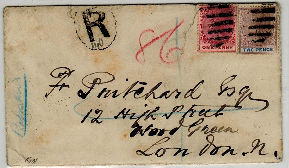 LAGOS - 1901 3d rate cover to UK.