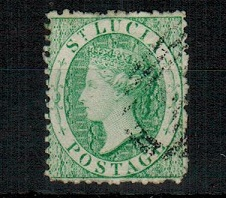 ST.LUCIA - 1863 (6d) emerald green used.  SG 8.