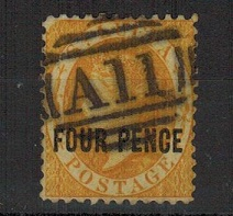 ST.LUCIA - 1882-84 4d yellow cancelled by