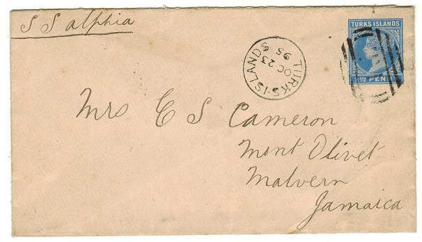 TURKS AND CAICOS IS - 1895 2 1/2d blue PSE addressed to Jamaica.  H&G 1a.