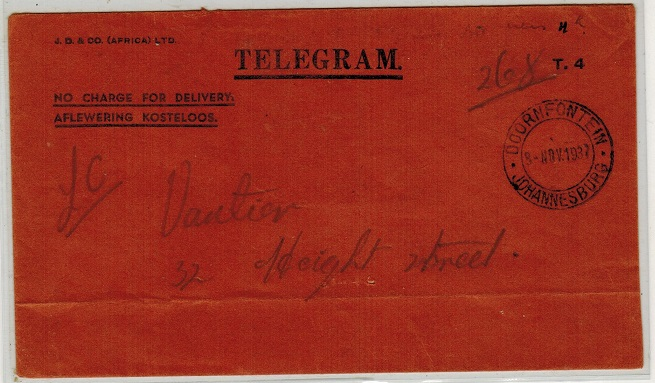 SOUTH AFRICA - 1937 TELEGRAM envelope used at DOORNFONTEIN.