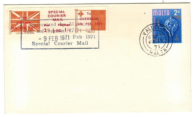 MALTA - 1971 3/- SPECIAL COURIER MAIL/UK TO MALTA