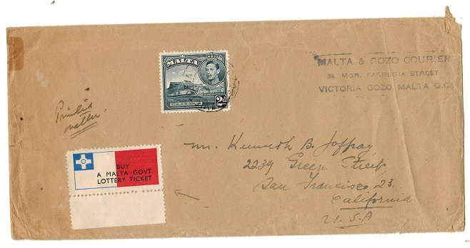 MALTA - 1948 2d surface mail cover to USA from VICTORIA/GOZO with LOTTERY ticket label applied.