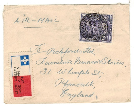 MALTA - 1948 2 1/2d rate cover to UK used at PRINCE OF WALES RD with LOTTERY ticket label applied.