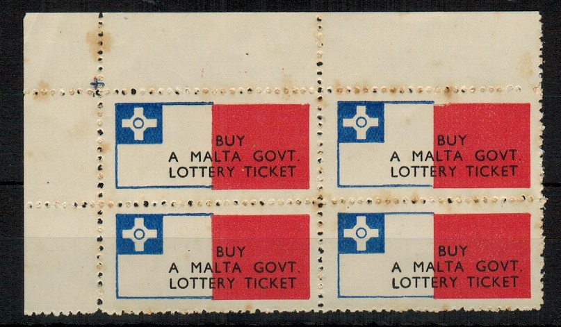 MALTA - 1948 BUY/MALTA GOV.T/LOTTERY TICKET label in a unused block of four.