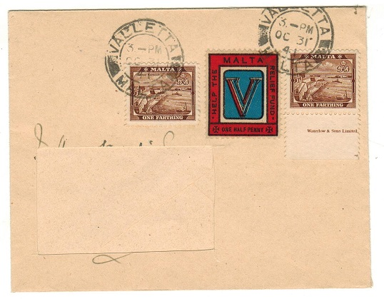 MALTA - 1941 local cover (ex address) with tied 1/2d MALTA/HELP THE RELIEF FUND label.