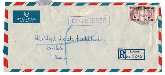 BAHRAIN - 1952 12a rate cover to Sweden cancelled by oval rubber REGISTERED/BAHRAIN cancel.