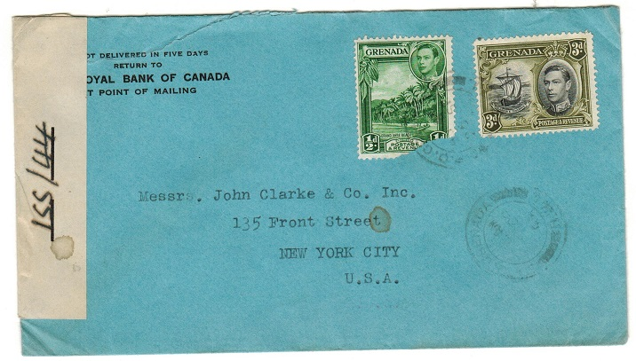GRENADA - 1943 3 1/2d rate censored cover to USA.