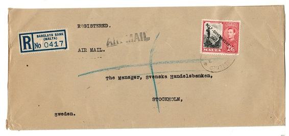 MALTA - 1952 2/6d rate cover to Sweden with scarce R/BARCLAYS BANK label at left.