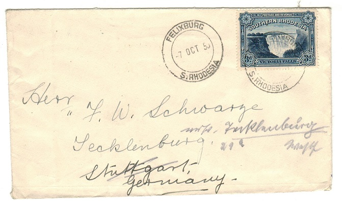 SOUTHERN RHODESIA - 1950 3d rate cover to Germany used at FELIXBURG.