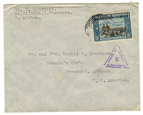 SOUTHERN RHODESIA - 1941 3d rate censor cover to USA.