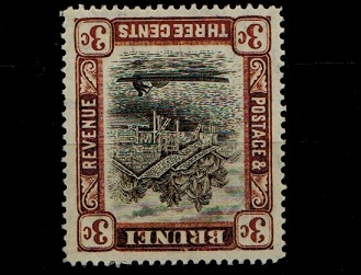BRUNEI - 1907-08 3c grey-black and chocolate fine mint with WATERMARK REVERSED.  SG 25x.