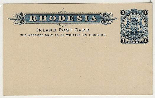 RHODESIA - 1897 1d blue on white PSC unused. H&G 8.