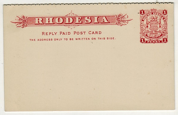 RHODESIA - 1897 1d+1d Red on white PSRC unused.  H&G 10.